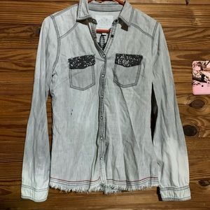 Distressed Maurice's Button Up Top